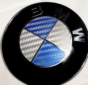 Bmw Blue Silver Carbon Fiber Emblem Sticker Overlay Complete Set Decal
