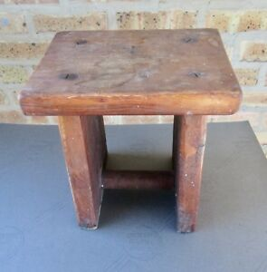 Primitive Foot Stool Wood Dairy Milking Bench 12x12x 9
