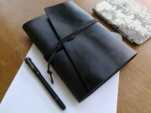Black Refillable A5 Leather Notebook Planner Journal Travel Notebook Cover
