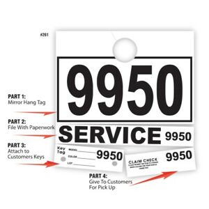 1000 Car Dealer Service Dispatch Hang Tags Mechanic Repair Shop 4 Part Key Ring