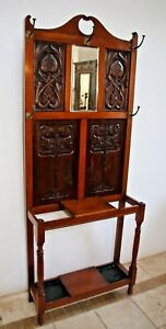 Vintage Dutch Hall Tree Tulip Theme Glove Drawer Umbrella Hat Stand Coat Rack