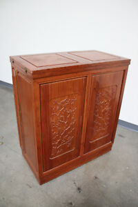 Antique Vintage Hand Carved Chinese Hidden Liquor Cabinet Bar Solid Cherry Wood