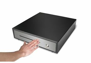 16 Cash Register Drawer Box With Money Tray Coin Drawer Push Open Manual Black
