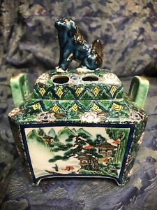 Meiji Kutani Japanese Porcelain Incense Burner Aode Shisha Komainu Foo Dog