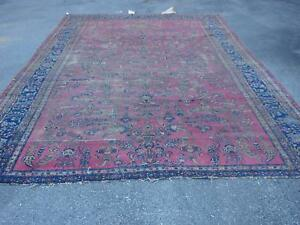 9 10 X 15 8 Antique Persian Rug As Found Bijar Heriz Malayer Kashana