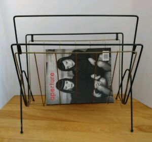 Vintage Mid Century Modern Magazine Wire Rack Metal Black And Gold Colored