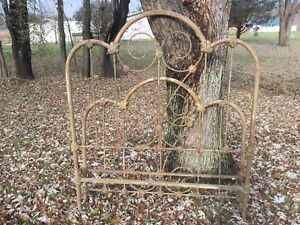Antique Vintage Fancy Full Size Iron Bed 54 Wide X 62 Tall