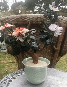 Vintage Chinese Bonsai Tree Roses With Buds Jade Agate Glass Purple