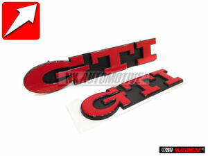Original Vw Set Gti Front Grill Rear Boot Badge Emblem Red Golf Mk3