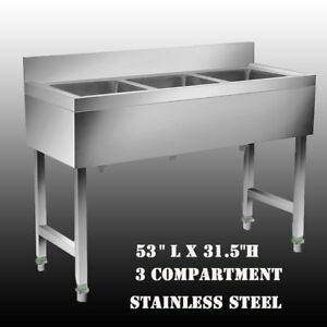 Heavy Duty Three 3 Compartment Stainless Steel Commercial Kitchen Bar Sink Ur