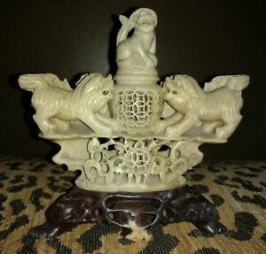 Antique Hand Carved Chinese Soapstone Censor