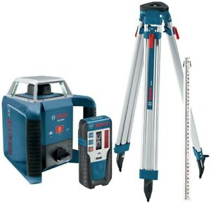 Bosch Rotary Laser Level Kit 1300 Ft Self Leveling Indoor Outdoor 4 Piece