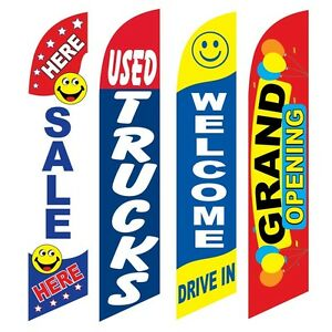 4 Swooper Flags Sale Here Used Trucks Welcome Drive In Grand Opening