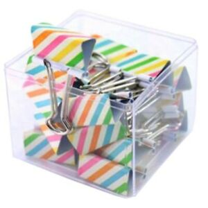 colorful Stripe Metal Binder Clips Cute Paper Clips 32mm Clamps 1 Box 16pcs