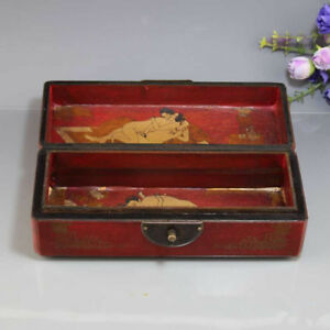 Top Grade Solid Wood Jewelry Box Redwood Dragon Phoenix Erotic Necklace Box