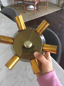 Vtg Mid Century Hollywood Regency Mini Flush Mount Brass Sputnik Light