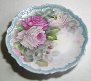 9 1 2 Vintage Plate Hand Painted Roses By Elaine Thompson