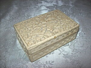 Ornate Antique Carved Chinese White Cinnabar Box With Floral Geometric Design