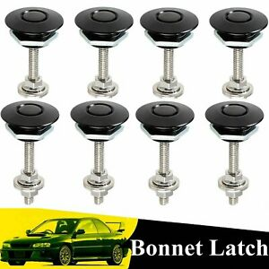 8x Universal Push Button Billet Hood Pins Lock Clip Set Car Quick Latches Black
