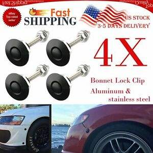 4x Universal Push Button Billet Hood Pins Lock Clip Set Car Quick Latches Black