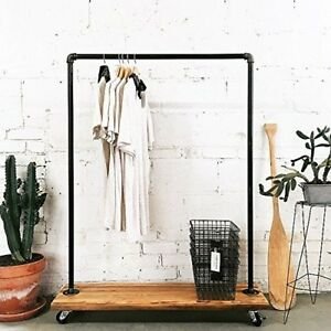 Fof Industrial Pipe Clothing Rack Garment Rack Pipeline Vintage Rolling Rack