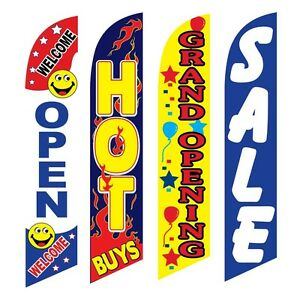4 Swooper Flags Welcome Open Hot Buys Grand Opening Sale