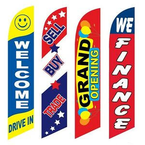 4 Swooper Flags Welcome Drive In Sell Buy Trade Grand Opening We Finance