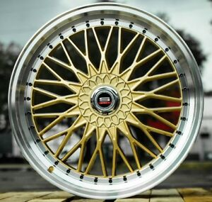 Set Of 6 20x7 5 Gold Spec 1 Sp 3 Racing Bbs Style Wheels 5x114 3 5x4 5 38mm