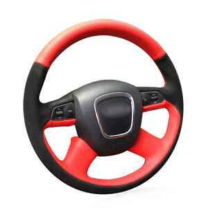 Steering Wheel Cover Red Leather Black Suede For Audi A4 B7 B8 A6 C6 2004 2011