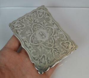 1878 Victorian Solid Silver Hand Engraved Calling Business Card Case In Box