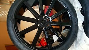 24 Inch Black Wheels And Tires Set