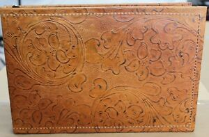 Leather 7 Ring Business Check Binder Light Tan Western Floral Cowhide