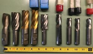 Lot 9 pc Endmill Lot 5 8 To 1 Carbide Highspeed Usa