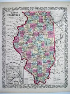 Colton 1855 Map Of Illinois Original Engraved Map 16x14