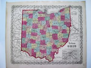 Colton 1855 Map Of Ohio Original Engraved Map 16x14