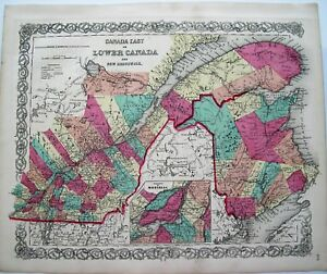 Canada Colton Antique Map Lower Canada Montreal Inset Hand Colored Map 1855