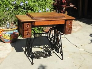 1915 Antique Singer Sewing Machine With Puzzle Box Thread