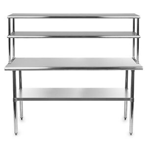 Stainless Steel Work Prep Table 24 X 24 With Adjustable Double Overshelf 14 X 24