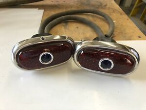 1940 Ford Rear Tail Lights red W Blue Dots All Glass