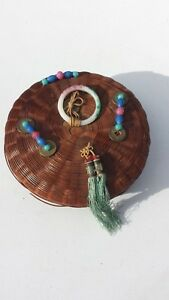 Vintage Antique Chinese Sewing Basket Coins Glass Beads Ring