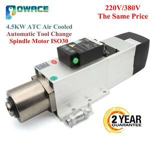 Square 4 5kw Atc Air Cooled Automatic Tool Change Spindle Motor Iso30 220v 380v