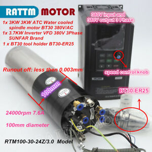 3kw Atc Automatic Tool Change Water Cooled Cnc Spindle Motor Bt30 Vfd 380v Kit
