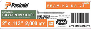 2 In X 0 113 gauge 30 Galvanized Ring Shank Paper Tape Framing Nails 2000 Box
