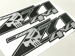Carbon Fiber Z71 4x4 Punisher Stickers Decals Chevy Silverado Chevrolet Sierra J