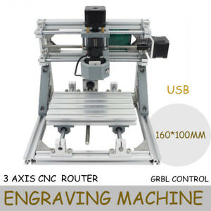 Usb Diy Mini Cnc Router Kit 3 Axis1610 500mw Laser Pcb Wood Milling Machine Ups
