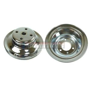 Bbc Big Block Chevy Chrome Steel Long Water Pump Pulley Kit 396 427 454 2 3 Lwp