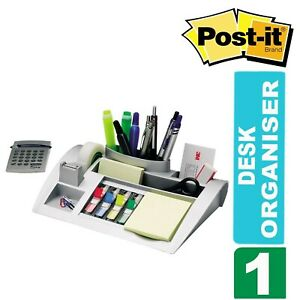 Post It C50 Silver Desk Organiser With Post it Notes Index Tabs Scotch Tape