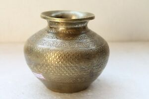 Vintage Old Brass Hand Beautiful Peacock Figure Holy Water Pot Lota Nh4569