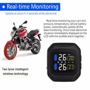 Wireless Motorcycle Tpms Tire Pressure Monitor System W 2 External Sensor New