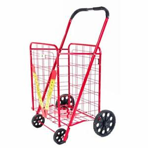 Athome Extra Large Deluxe Rolling Utility Shopping Cart Stowable Folding Hea